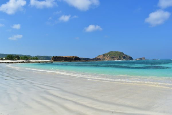 Blue sea of Tanjung Aan beach, Lombok, Indonesia