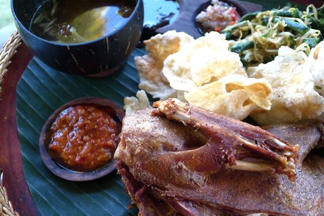 Plenty duck menu can be found at Bebek Tepi Sawah restaurant, Ubud, Bali, Indonesia