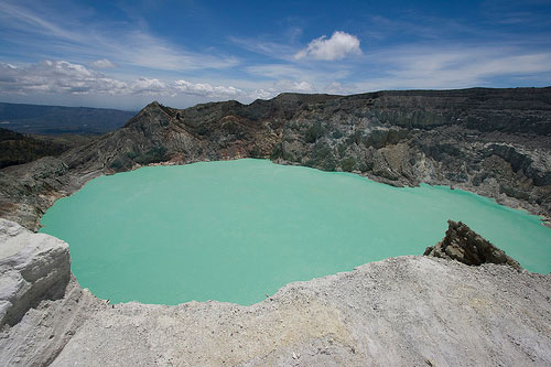 Volcano Mount Ijen and its lake, Java, Indonesia