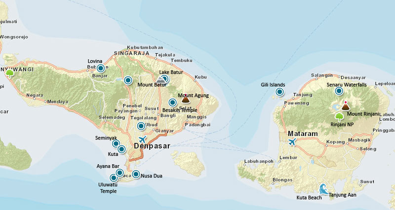 Bali and Lombok Travel Map