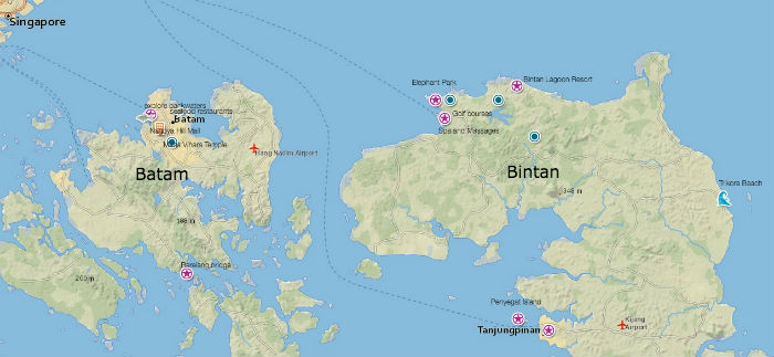 Batam and Bintan Island Travel Map
