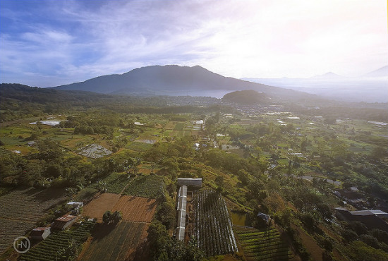 Village, lake and mountain of Bedugul, Bali, Indonesia