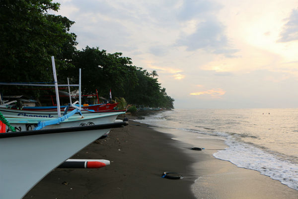 Black sand beach at Lovina, Bali, Indonesia