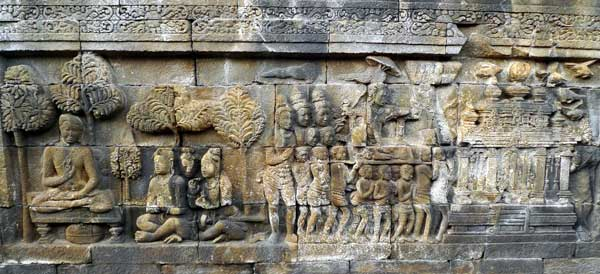 Relief panels / wall carvings of Borobudur Temple