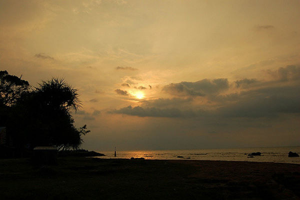 Beautiful sunset at Carita Beach near Jakarta.