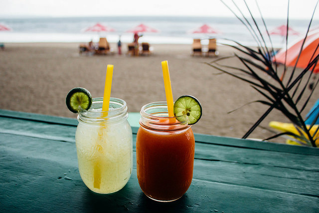 Chill with drinks at Seminyak beach, Bali, Indonesia