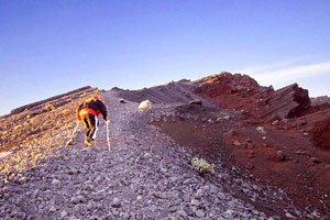 Climbing to Summit of Mount Rinjani, Lombok, Indonesia