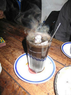 Coffee with flaming charcoal, Angkringan Lik Man, Yogyakarta, Indonesia