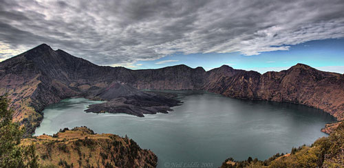 Crater Lake and Gunung Baru, Rinjani, Lombok, Indonesia