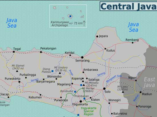 Map of Dieng Plateau in Central Java, Indonesia