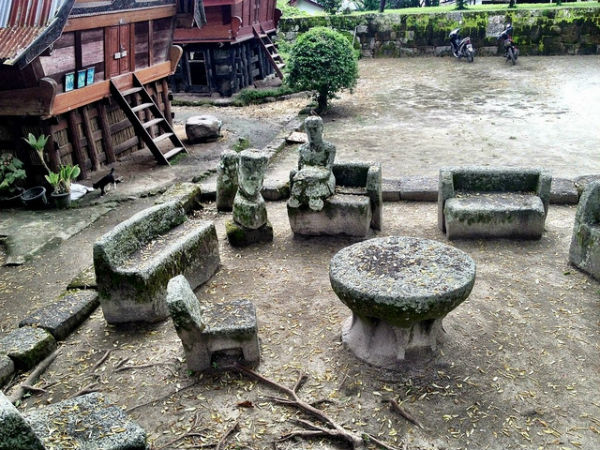 Famous E stone chairs, Sumatra, Lake Toba, Sumatra, Indonesia