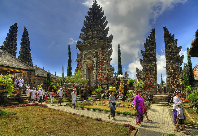Festival at Pura Ulun Danu Temple at Lake Bratan, Bali, Indonesia