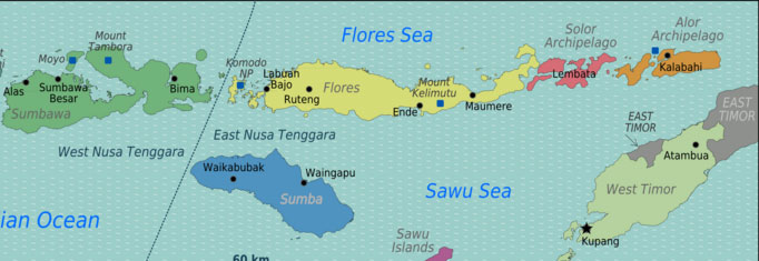 Map of Flores in Indonesia