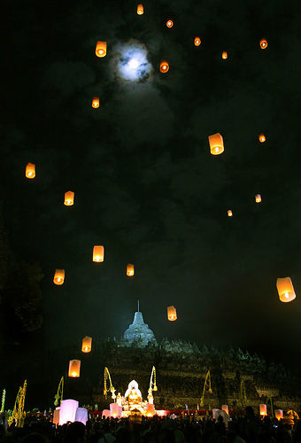 Releasing lanterns at Waisak in Borobudur, Indonesia