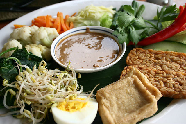 Gado-gado, a vegetarian's favourite in Bali and rest of Indonesia. Fried Tempe on the bottom right