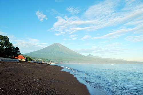 Volcano Mountain Agung by the beach, Bali, Indonesia
