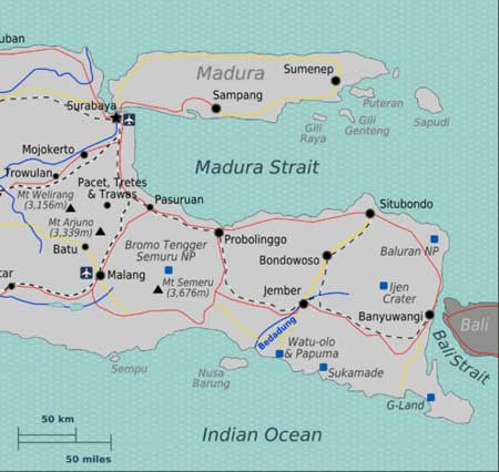 Map of Ijen Crater, East Java Indonesia