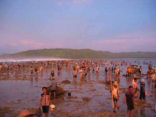 Bau Nyale Fishing Festival in Lombok, Indonesia