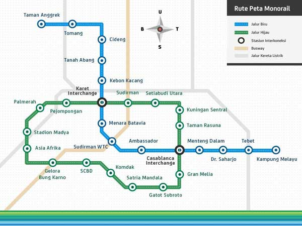Jakarta Monorail Route Plan, Indonesia