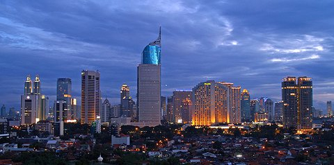 Jakarta skyline at night, Java, Indonesia