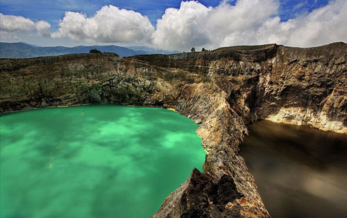 Tri-colored Kelimutu Lakes at Mount Kelimutu, Flores
