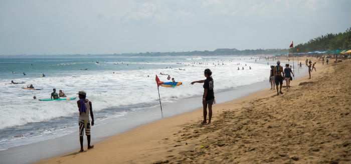 Beach activities in Kuta, Bali