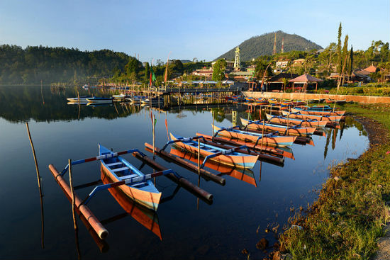Local boats at Lake Bedugul, Bali, Indonesia