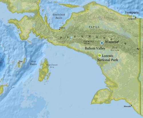 Map of Lorentz National Park, Papua (Irian Jaya) Indonesia