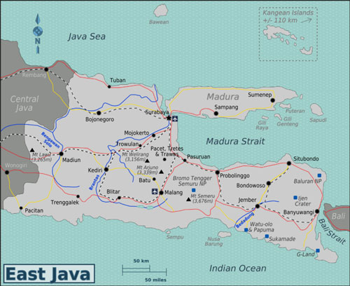 Map of Malang, East Java, Indonesia