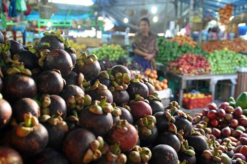 Mangosteens at Berastagi Market, Sumatra, Indonesia
