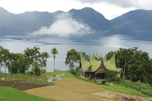 Lake Meninjau at Bukittinggi, Sumatra, Indonesia