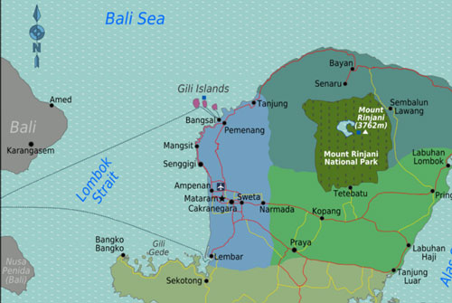 Map of Gili Islands, Lombok, Indonesia