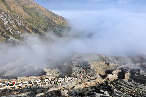 Road through Sea of Sand to Mount Bromo's crater