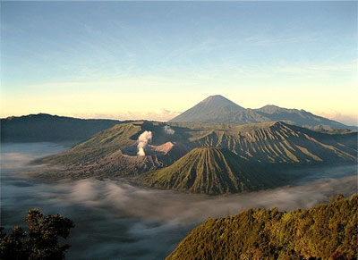Mount Bromo, Indonesia with rising smoke