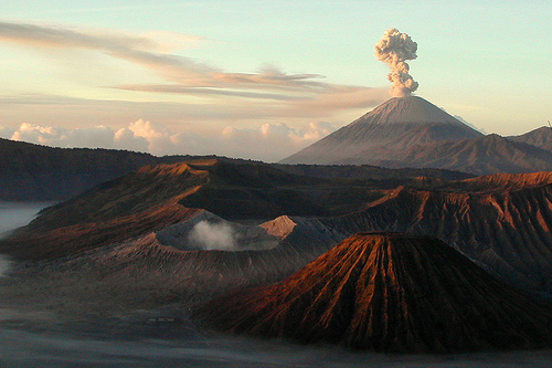 Volcano Mount Bromo with Mount Semeru at the back, Java, Indonesia
