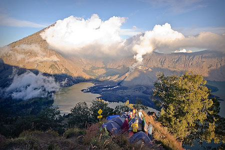 Hike and camp in Mount Rinjani, Lombok, Indonesia