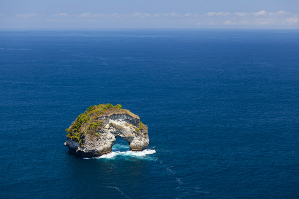 Limestone rock on the sea of Nusa Penida, Bali