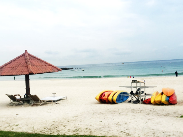 Private beach at Bintan Lagoon Resort, Indonesia