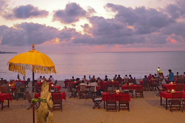 Seafood dinner in Jimbaran Beach, Bali, Indonesia