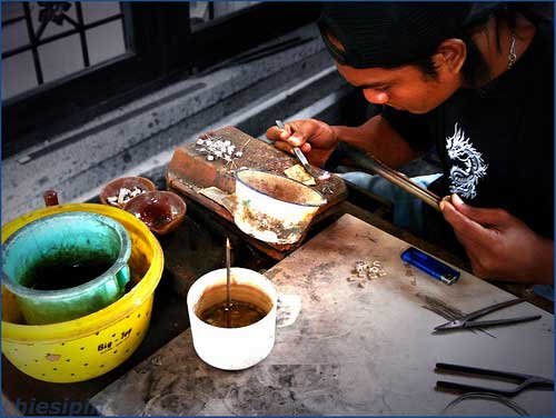 Silversmith at Celuk Village, Bali