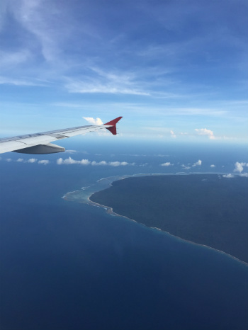 Flying from Singapore to Bali, Indonesia