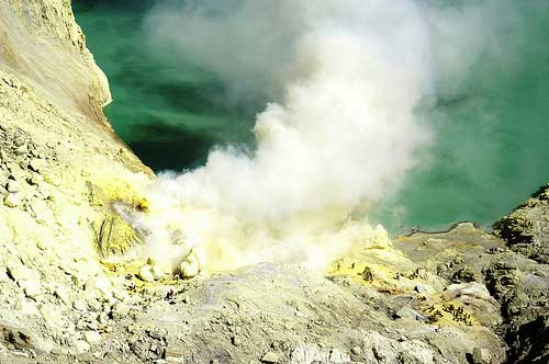 Sulphur fumes over Acid Lakes at Ijen Crater