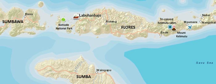 Flores, Sumba and Sumbawa Travel Map