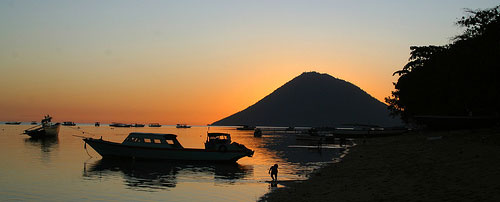 Sunset at Bunaken Island in Indonesia