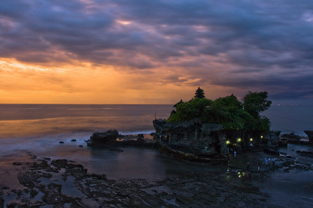 Sunset at Pura Tanah Lot Temple, Bali, Indonesia