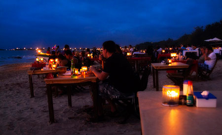 Sunset seafood dinner at Jimbaran, Bali