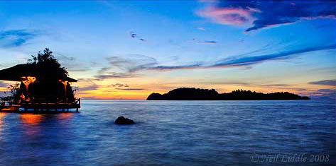 Sunset at Togian Islands in Sulawesi, Indonesia
