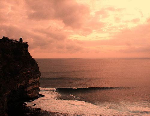 Sunset view of Uluwatu Temple, Bali Indonesia