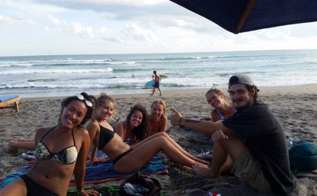 Surfing babes and new friends at Canggu, Bali, Indonesia