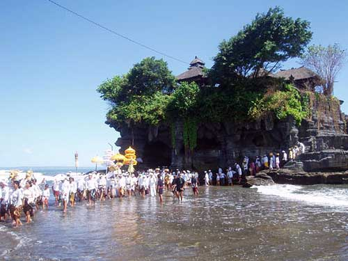 Tanah Lot Temple ceremony in Bali, Indonesia